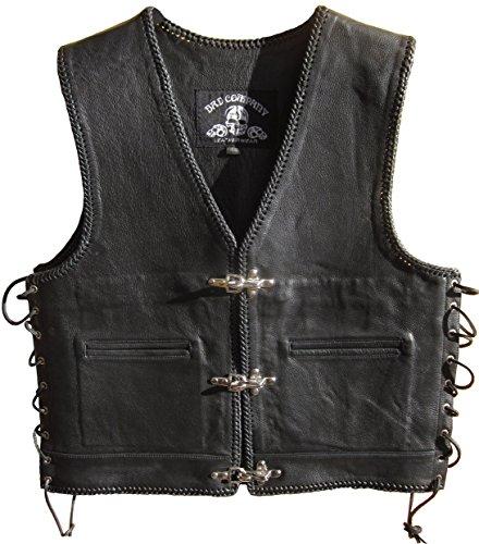 """Bad Company Leatherwear """"Steve"""" Clubweste aus Glattleder in Schwarz mit Passbeltaschen Taschen für Motorradfahrer und Biker (M/50, Schwarz)"""