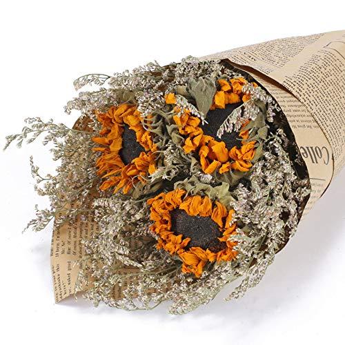 HUAESIN Bouquet Fiori Secchi per Decorazioni Mazzo Fiori Secchi Veri Composizione Fiori Secchi di Girasoli Naturali per Vaso Feste Matrimoni Caffetteria Fai da Te