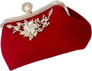 VALICLUD Mujeres Embragues Perlas Bolso de Noche Embrague Monedero Bolsos Banquete Fiesta Bolso con Diamantes de Imitación...