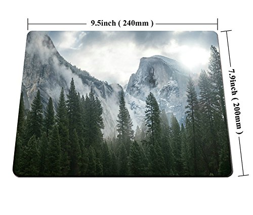 Smooffly Forest Gaming Mouse Pad,National Park Nature Mountain Trees Mist Mouse Pad for Office 9.5 X 7.9 Inch (240mmX200mmX3mm) Photo #6