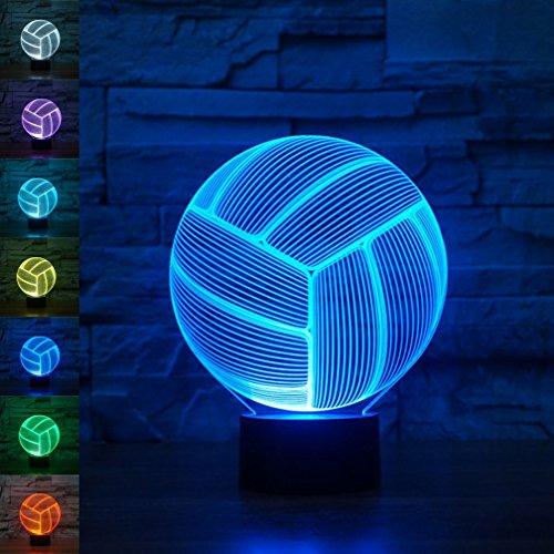 Lampada 3D, EONANT 3D Night Lights Touch USB LED con 7 Colori di Illusione Ottica di Luci Scrivania per Bambini in Camera Decorazione Domestica (Pallavolo)