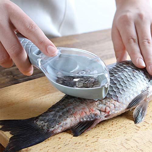 OUYAWEI Home Raspador de Limpieza de Piel con escamador de Pescado Manual con Tapa de Caja de Almacenamiento Azul 16 *...
