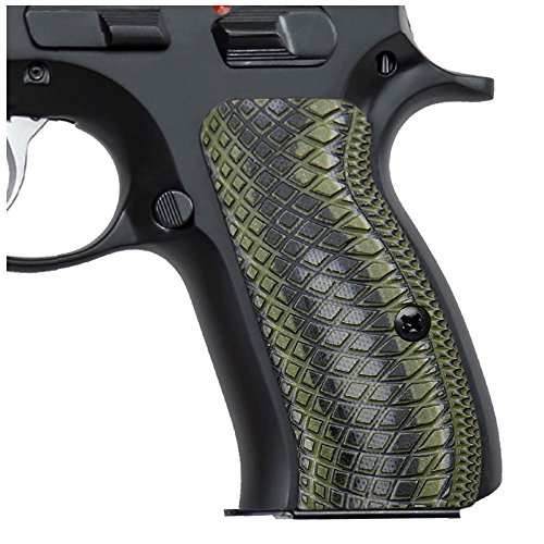 Cool Hand G10 Grips for CZ 75/85 Compact, CZ P-01, P100, C100, T100, PCR, CZ 75 D, Gun Grips Screws Included, Snake Scale Texture (OD/BLK)