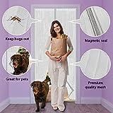 ARVO Porte moustiquaire moustiquaire magnétique, Rideau en moustiquaire pour Portes jusqu'à 90 cm x 210 cm (35,4'x 82,6') (Blanc)