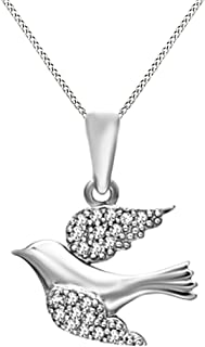 White Natural Diamond Accent Soaring Dove Pendant Necklace in 14K Gold Over Sterling Silver