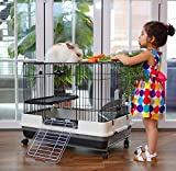 Large 2-Tiers Indoor Rabbit Hutch Cage for Guinea Pig...