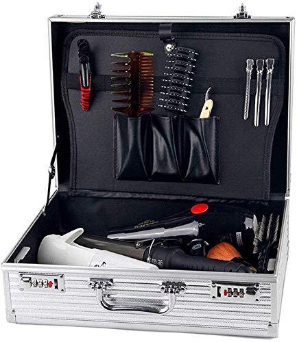 Caja de Herramientas de barbero profesional portátil de aluminio, Maleta de peluquería, Maleta de almacenamiento de cortapapeles, caja de almacenamiento con cerradura de organizador (Silver)