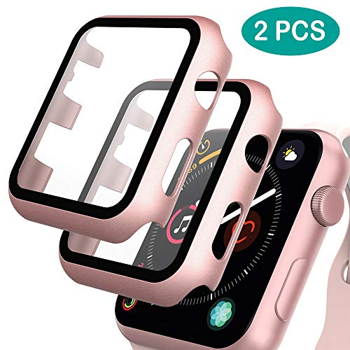 GeeRic 2PCS Pellicola Vetro Temperato Compatibile per Apple Watch 42mm Serie 3/2/1 HD Cover Resistente Urti Pellicola Copertura Completa Custodia Compatibile per Apple Watch 42mm Serie 1/2/3 Rosa-Oro