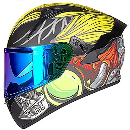 YLXD Casco Modular abatible para Motocicleta, Cara Completa, visores Dobles, Casco Motocicleta, Casco Bicicleta de Calle, Carreras para Hombres Adultos, Mujeres E,M