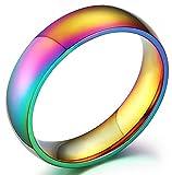 Nanafast Stainless Steel Dome Rainbow Couple Lebian & Gay Ring-7