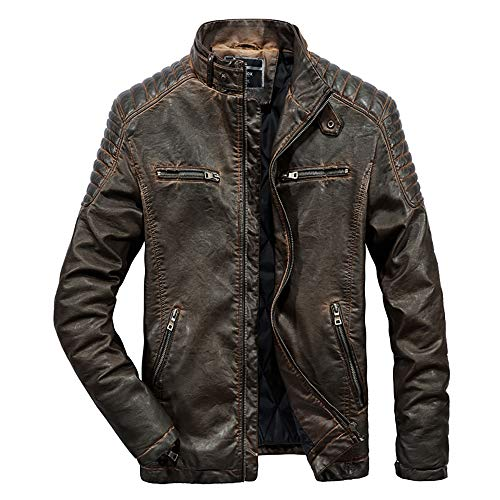 Muzboo Chaqueta de piel sintética para hombre de invierno cálida para motocicleta - marr�n - X-Large