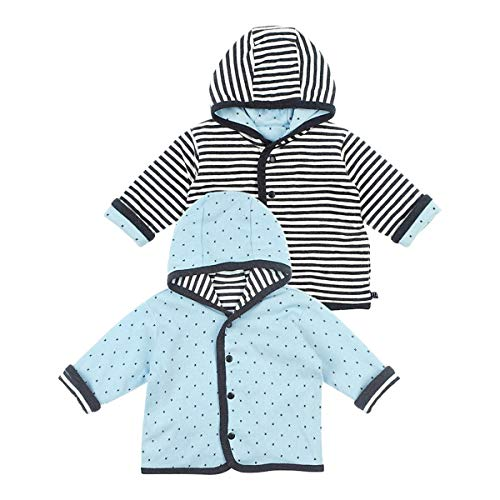 Feetje Wendejacke mit Kapuze Ringel X veste bébé vêtements bébé, anthracite/bleu ciel