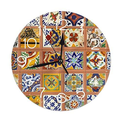Lionel Philip Wanduhr Talavera Mexican Tiles Dekorative Wanduhr Silent Non Ticking - 9,8-Zoll-Runde Leicht zu lesende Dekorative für Heim-, Büro- und Schuluhren