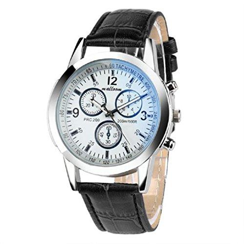 Toamen Moda De Lujo Faux Leather Relojes De Cuarzo para Hombre (D)