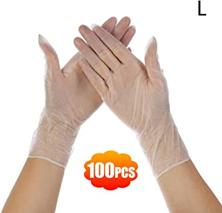 Clear Powder Free Vinyl D-isposab-l-e Plastic G-loves Latex Free Non-Sterile Food Safe Box of 100 Large