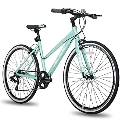 Hiland Hybrid Bike Urban City Commuter Bicycle for Women Comfortable Bicycle 700C Wheels with 7 Speeds Mint Green