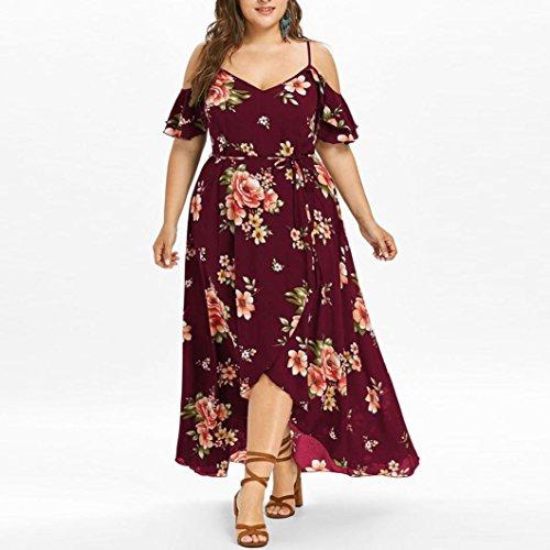 lotus.flower 2018 Plus Size Women Casual Short Sleeve Cold Shoulder Boho Flower Print Long Dress (2XL, Wine)