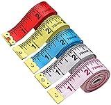 BUSHIBU 5 Piece Body Measuring Ruler Sewing Tailor Tape Measure Soft Flexible 79'' /200 cm Colorful