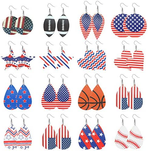 YADOCA 16 Pairs Independence Day Leather Earrings July 4th American Flag Leather Earrings Football product image