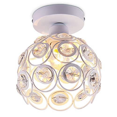Mini lámpara de techo araña de cristal lámpara de techo de montaje semi empotrado accesorio de iluminación de techo moderno para pasillo cocina escalera de dormitorio Isaland, E26,Blanco