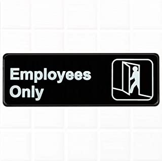 Employees Only Sign for Door - Black and White, 9 x 3-inches Employees Only Door Sign, Restaurant Compliance Signs by Tezzorio