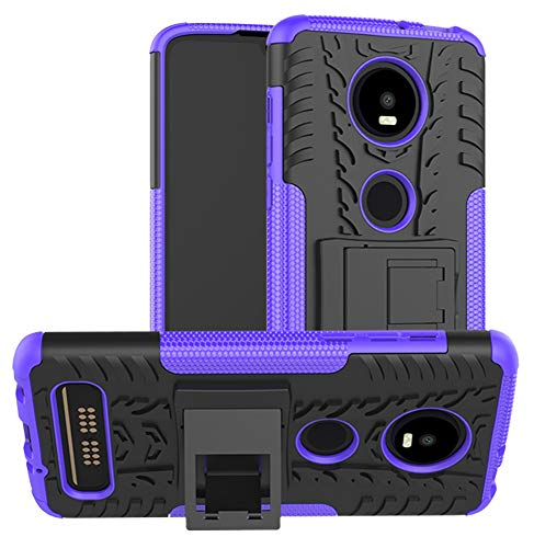 Moto Z4 Case, Moto Z4 Play Case, Yiakeng Dual Layer Shockproof Wallet Slim Protective with Kickstand Hard Phone Cases Cover for Motorola Moto Z4 (Purple)