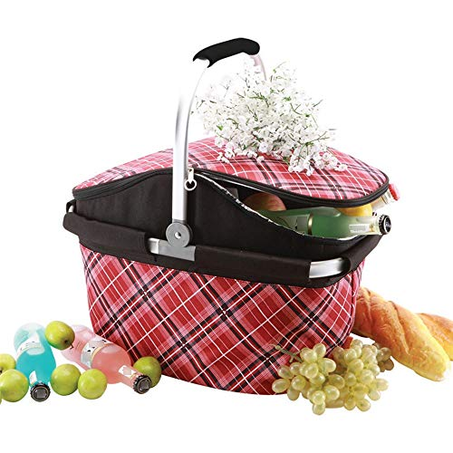 Picnic Basket Takeaway Insulation Bag Printed Oxford Cloth Picnic Bento Insulation Bag Portable Aluminum Film Lunch Box Insulation Bag Picnic Hamper