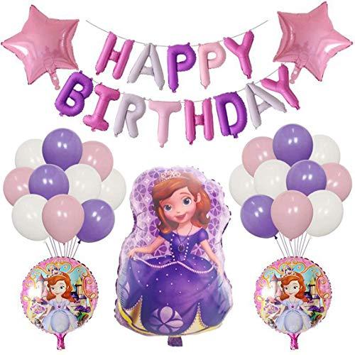 Sofía Cumpleaños Decoracion Decoración de Cumpleaños Globos de Pancartas de Fiesta Tema de Cumpleaños Decoraciones Para Baby Shower