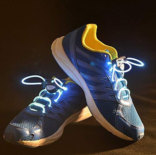 KAILUN Led Cordones Brillantes Cordón Luminoso Encaje Intermitente para Niños Decoración De Ocio Danza Deportes Corriendo Luz De Advertencia,White