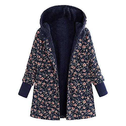 Lulupi Winterjacke Damen Warm Mantel Gefütterte Fleecejacke Ethnische Boho Jacke Frauen Elegant Vintage Blumendruck Kapuzenjacke Outwear Parka Coat