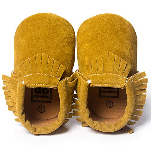 CENCIRILY Infant Baby Soft Sole Suede Moccasins Tassels for Boys Girls Non Slip First Walkers Crib Shoes, 01 Yellow Brown, 6-12 Months M US Infant
