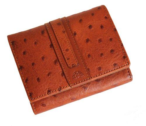 Tony Perotti TP27300 Geldbörse aus italienischem Straußenleder, zum Überziehen, Cognac