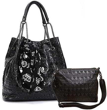 Chikencall Womens Skull Print Hobo Tote PU Leather Shoulder Bag Punk Handbag and purses 2 sets product image