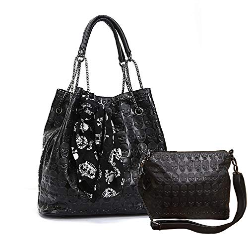 Chikencall Womens Skull Print Hobo Tote PU Leather Shoulder Bag Punk Handbag and purses 2 sets