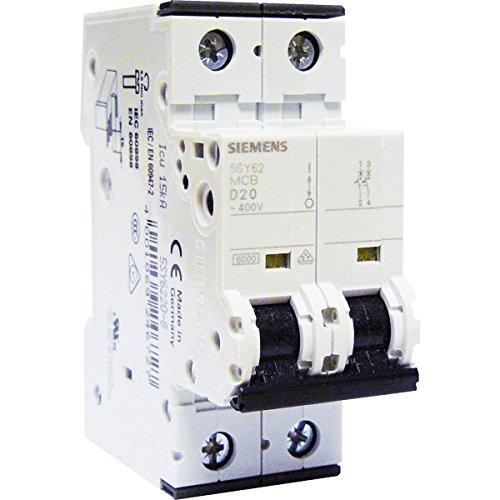 SIEMENS Ingenuity for life - Interruptor automático 2 polos 20 A curva D para aire acondicionado, bomba de calor y bomba de elevación