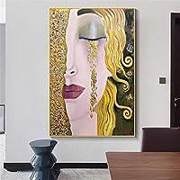 古典的な壁アート女性黄金の涙抽象的なキャンバス絵画ポスタープリント壁アート写真リビングルーム家の装飾壁画アートワーク-60x90cmフレームなし