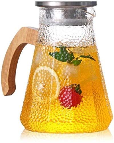 Resistente al calor Jarra de vidrio de jarra de agua con tapa de vidrio de vidrio de lanza de vidrio borosilicato y acero inoxidable tapa de vidrio tarro de vidrio té helado té caliente frío hielo vin