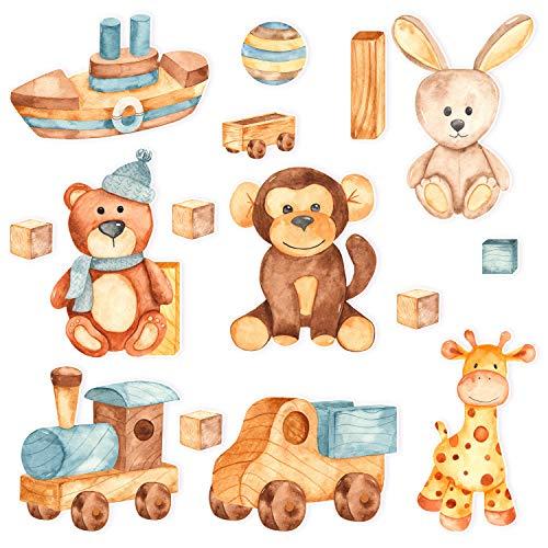 Juego de pegatinas de pared para habitación infantil, pegatinas de pared para niños y niñas, juguetes retro de madera, decoración de habitación de niñas, pegatinas multicolor
