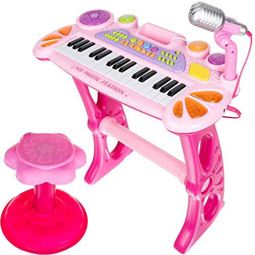 ISO TRADE Keyboard Kinder Spielzeug Piano Klavier Musikinstrument Kinderpiano 11547, Farbe:Rosa