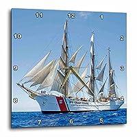 3dRose DPP_205037_2 沿岸警備隊ボート壁時計 13 x 13インチ