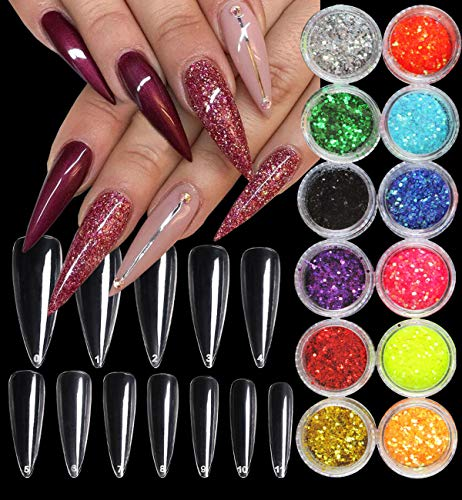 600pc Clear Long Stiletto Nail Tips Full Cover Artificial False Nails with 12 Colors Hexagon Glitter Sequins Powder for UV Gel Acrylic Nail Art DIY Design (Clear Stiletto)