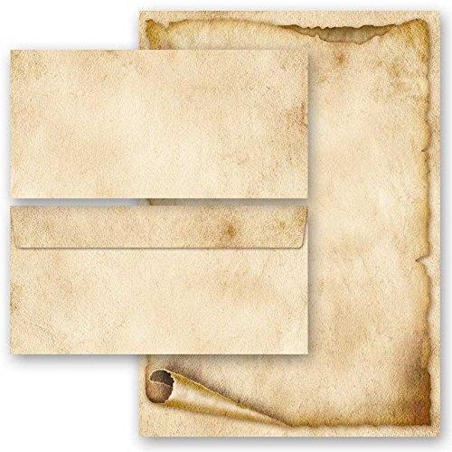 20-tlg. Motivpapier Komplett-Set ALTE PAPIERROLLE (Variante A) 10 Blatt Briefpapier + 10 passende Briefumschläge DIN LANG ohne Fenster