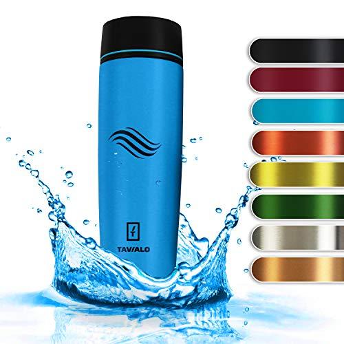 TAVIALO Botella de Agua de Acero INOX Botella Termica 460ML. Ecológica Sin Bpa. con Aislamiento frío/Calor. Práctica Ligera y Elegante. (Azul)