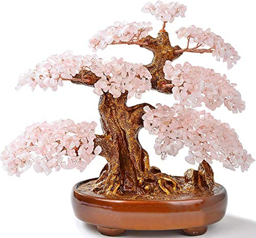 KALIFANO Natural Rose Quartz (1,251 Gemstone Count) Chakra Crystal Tree with Healing Properties - Bonsai Feng Shui Money Tree for Love and Self Care - 14'