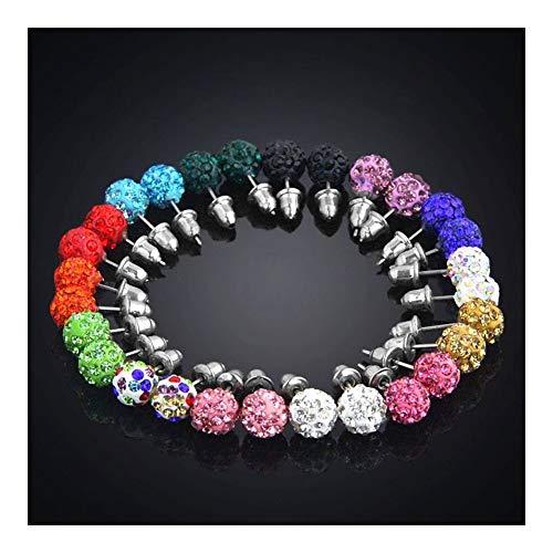 LSBXWL 14 Paare/Box Pflastern Lehm-Kristall-Ohrringe for Frauen 8mm Micro-Disco-Kugel Strass Ohrstecker Set Fashion Jewelry