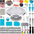 186 Pcs Cake Decorating Supplies-kit with Metal Cake Turntable 57 Numbered Piping Tips with Pattern Chart,Cake Decorating Kit with Storage Box, Cake Baking Supplies for Beginner and Cake-Lover