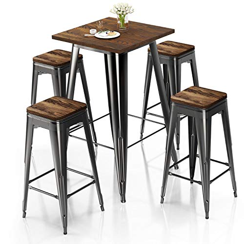 VIPEK Metal Bar Table Chair Set 41.5' H Square Dining Table & 4Pcs 30' H Barstool Dining Stool Bar Chairs w Solid Wood Top Bistro Pub Patio Cafe Restaurant Home Kitchen, Gloss Black