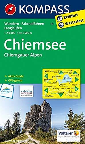 KOMPASS Wanderkarte Chiemsee - Chiemgauer Alpen: Wanderkarte mit Aktiv Guide, Radwegen und Loipen. GPS-genau. 1:50000 (KOMPASS-Wanderkarten, Band 10)