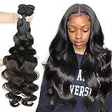 8-40Inch Brazilian Human Hair Bundles Body Wave 3 Bundles 10A Grade 100% Unprocessed Virgin Long Body Wave Human Hair Remy Weave Extensions Natural Color(10 10 10, Body Wave)