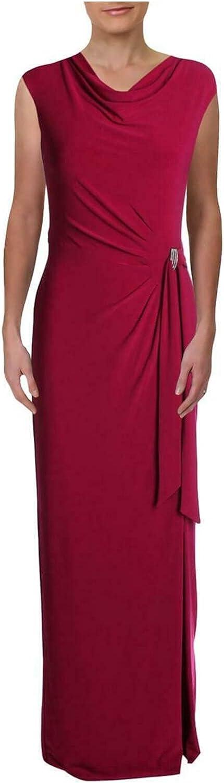 Ralph Lauren Womens Pink Embellished Sleeveless Mock Maxi Sheath Formal Dress Size 10